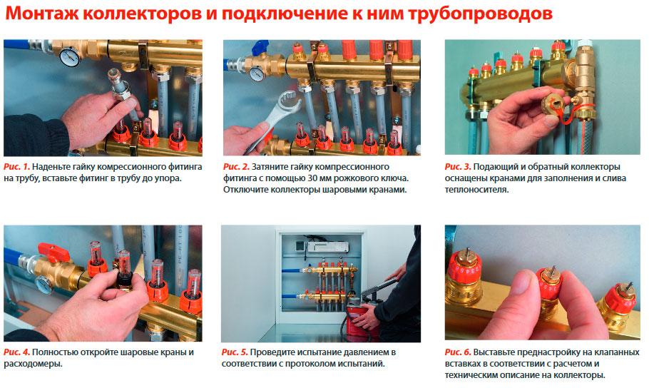 Монтаж коллектора отопления